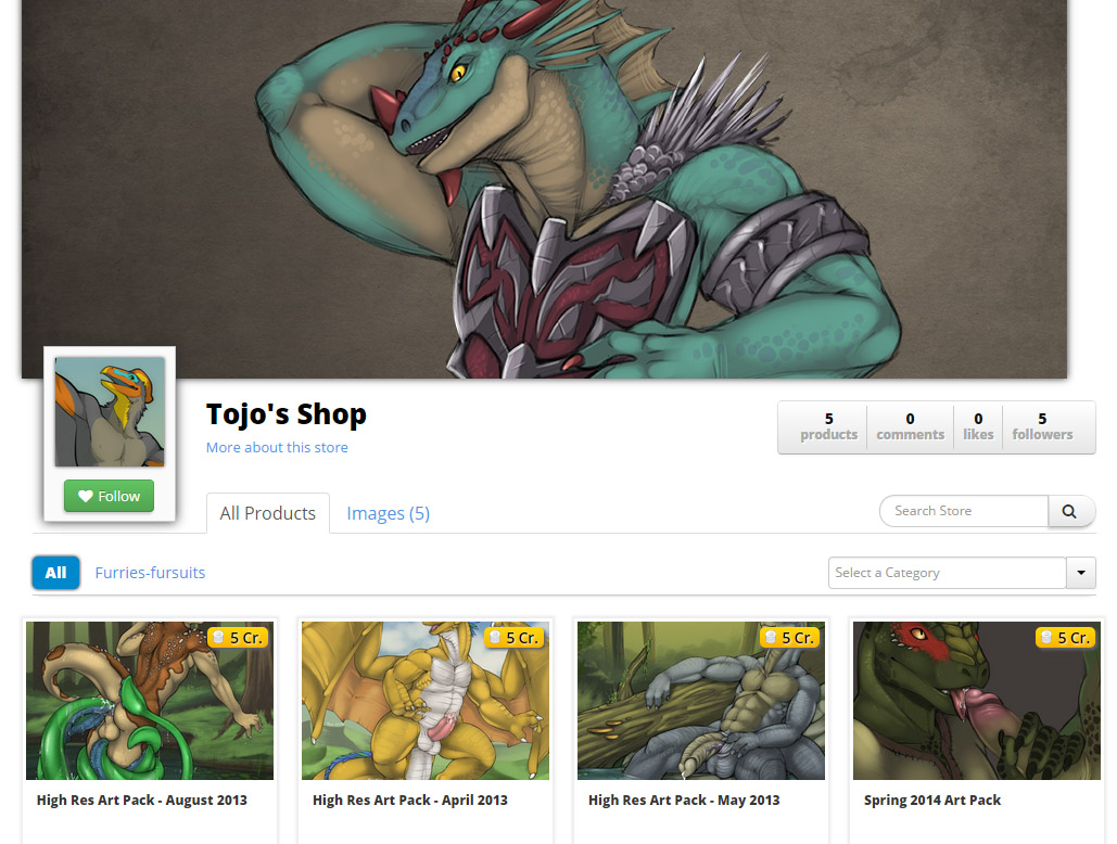 A store on Offbeatr, catering to fans of big gay lizards. Tojo seems to be the only furry using the long-term features on Offbeatr.